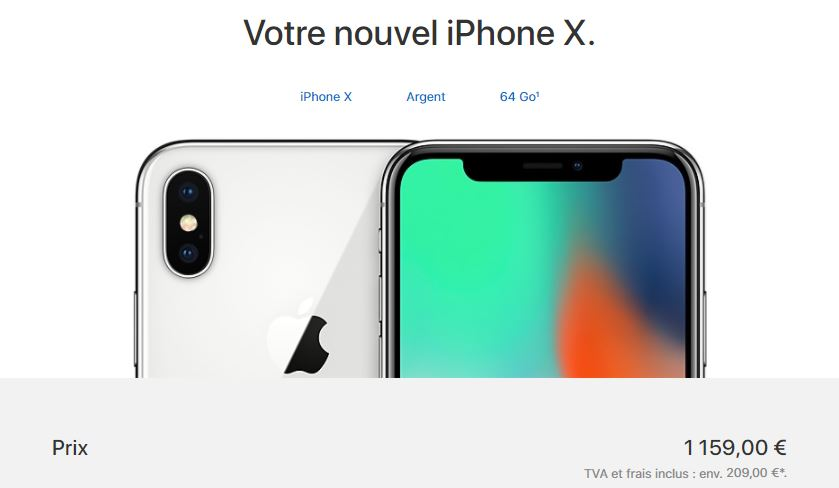 achat iphone x apple store - L'iPhone X est disponible à l'achat, à partir de 1159€