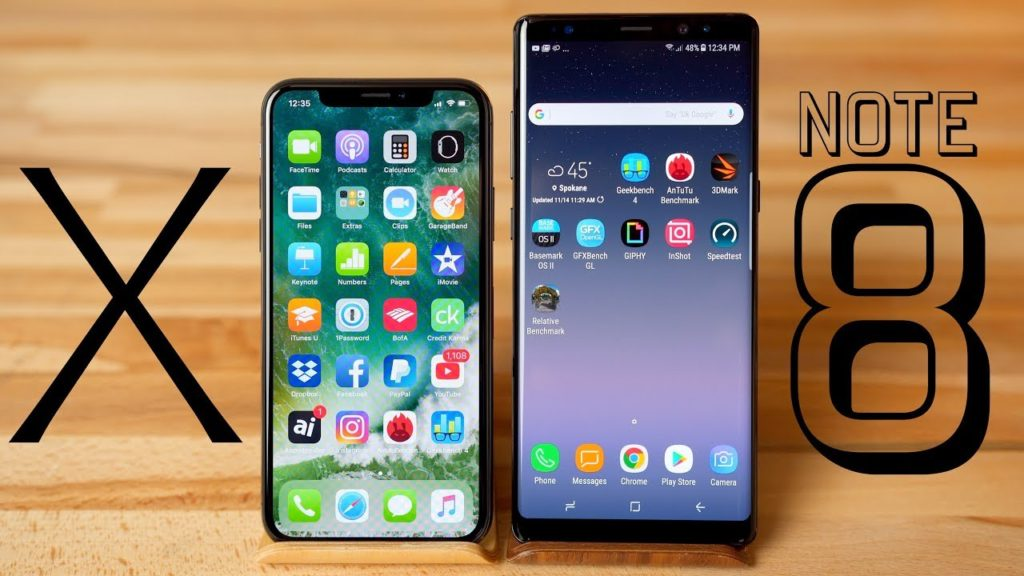 apple iphone x vs samsung galaxy note 8 1024x576 - Benchmark : l'iPhone X bien meilleur que le Samsung Galaxy Note 8