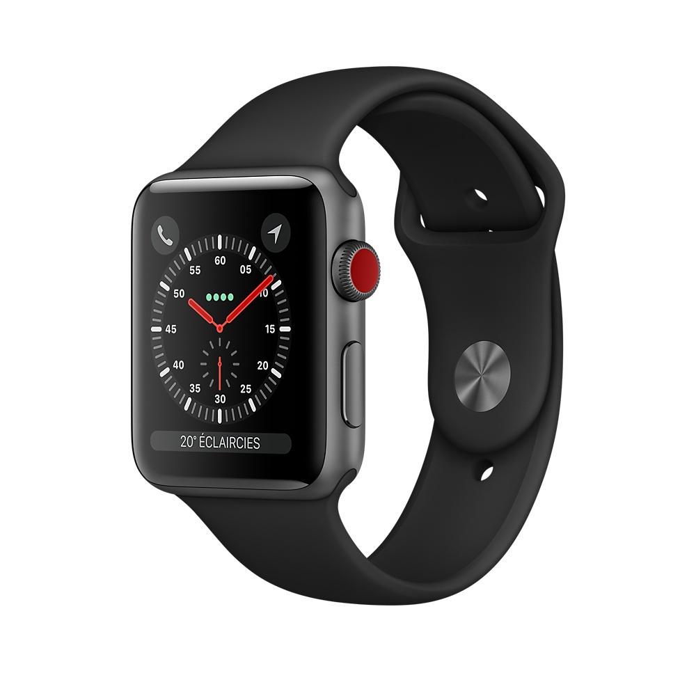 apple watch 3 4g aluminium gris sideral bracelet sport noir - Apple Watch : demander la météo à Siri peut faire redémarrer la montre