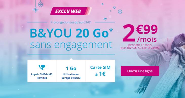 B&You : un forfait 4G avec 20Go de data à 2,99€/mois pendant 1 an !