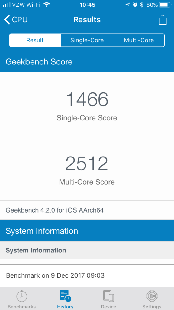 geekbench iphone 6s batterie avant 576x1024 - Changer la batterie de son iPhone peut lui donner une seconde vie !