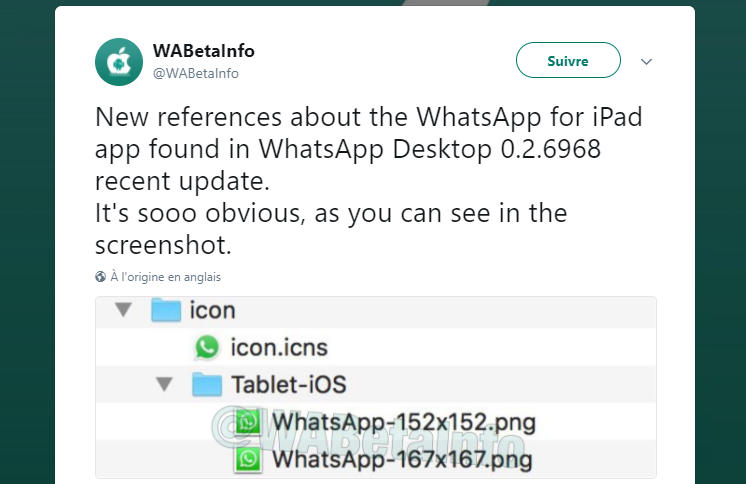 whatsapp ipad reference twitter - WhatsApp : la version Mac suggère une sortie imminente sur l'iPad