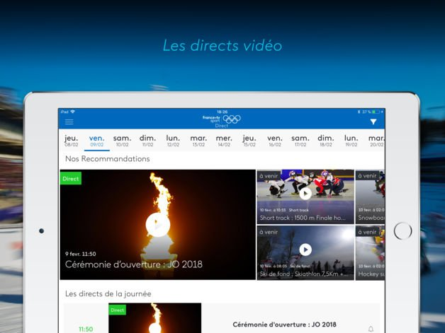 france tv jo pyeongchang 2018 - App du jour : France•tv JO : PyeongChang 2018 (iPhone & iPad - gratuit)