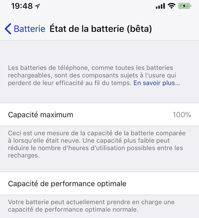 ios 11 3 apple ajoute l 39 tat de la batterie dans les r glages iphone. Black Bedroom Furniture Sets. Home Design Ideas