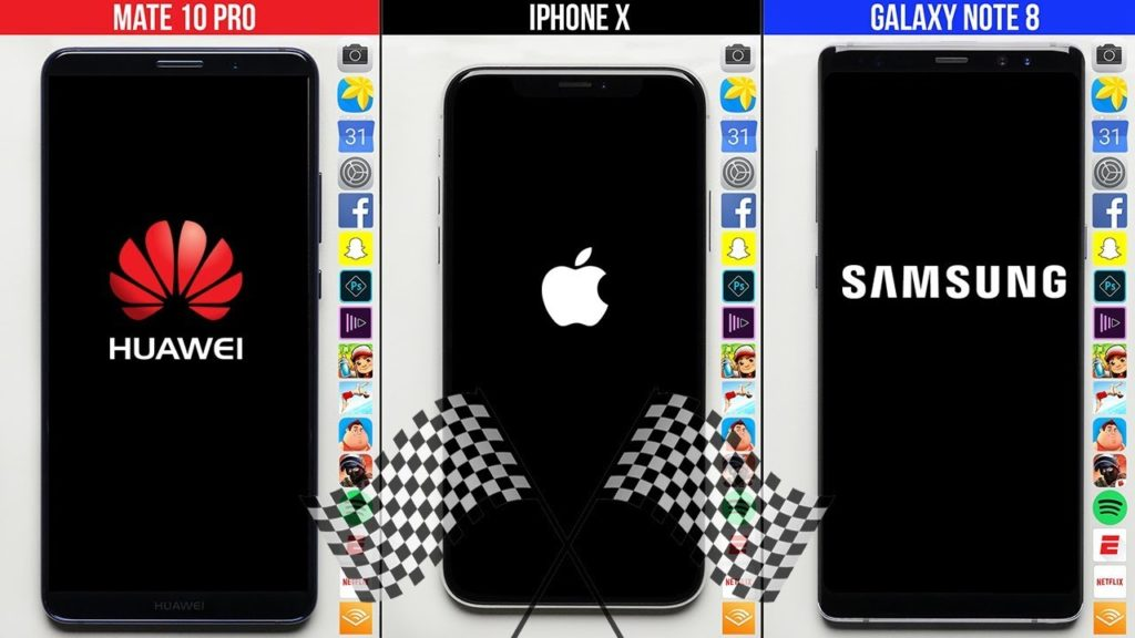 iPhone X vs Huawei Mate 10 vs Galaxy Note 8 1024x576 - iPhone X vs Huawei Mate 10 vs Galaxy Note 8 : test de rapidité