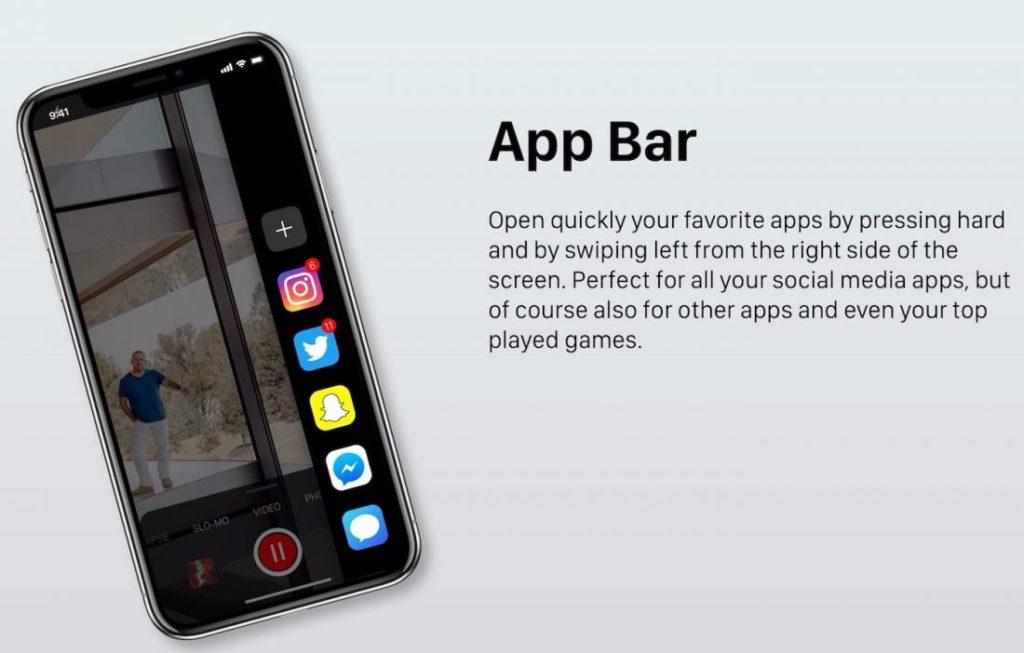 """Concept iOS 12 App Bar 1100x702 1024x653 - iOS 12 : un concept avec des modes """"Sombre"""" & """"Invité"""""""