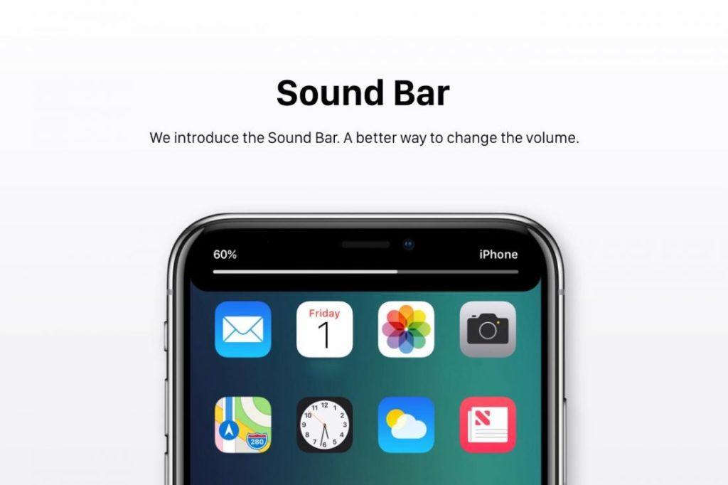 """Concept iOS 12 Barre Son 1100x733 1024x682 - iOS 12 : un concept avec des modes """"Sombre"""" & """"Invité"""""""