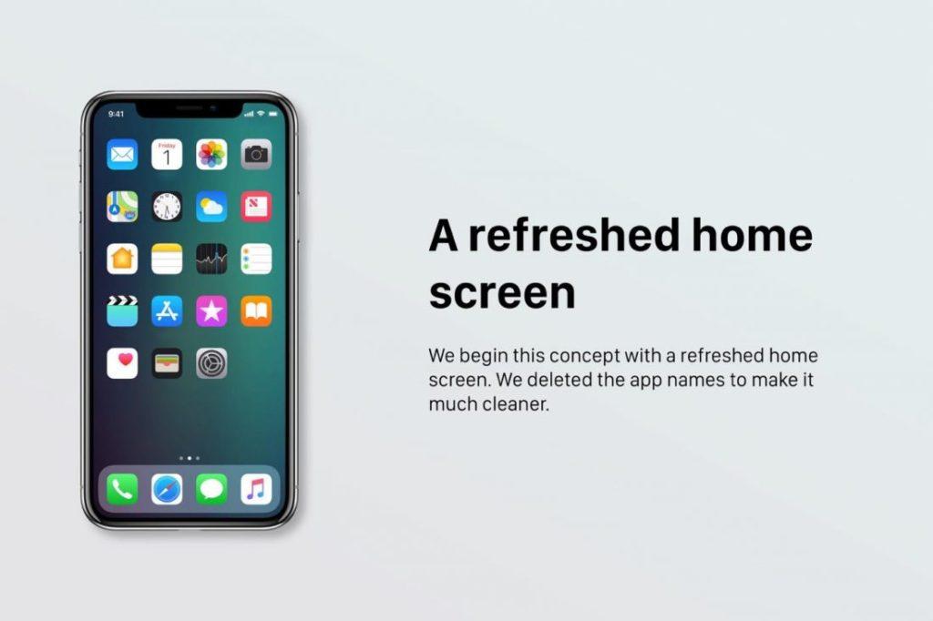 """Concept iOS 12 Ecran Accueil 1100x733 1024x682 - iOS 12 : un concept avec des modes """"Sombre"""" & """"Invité"""""""