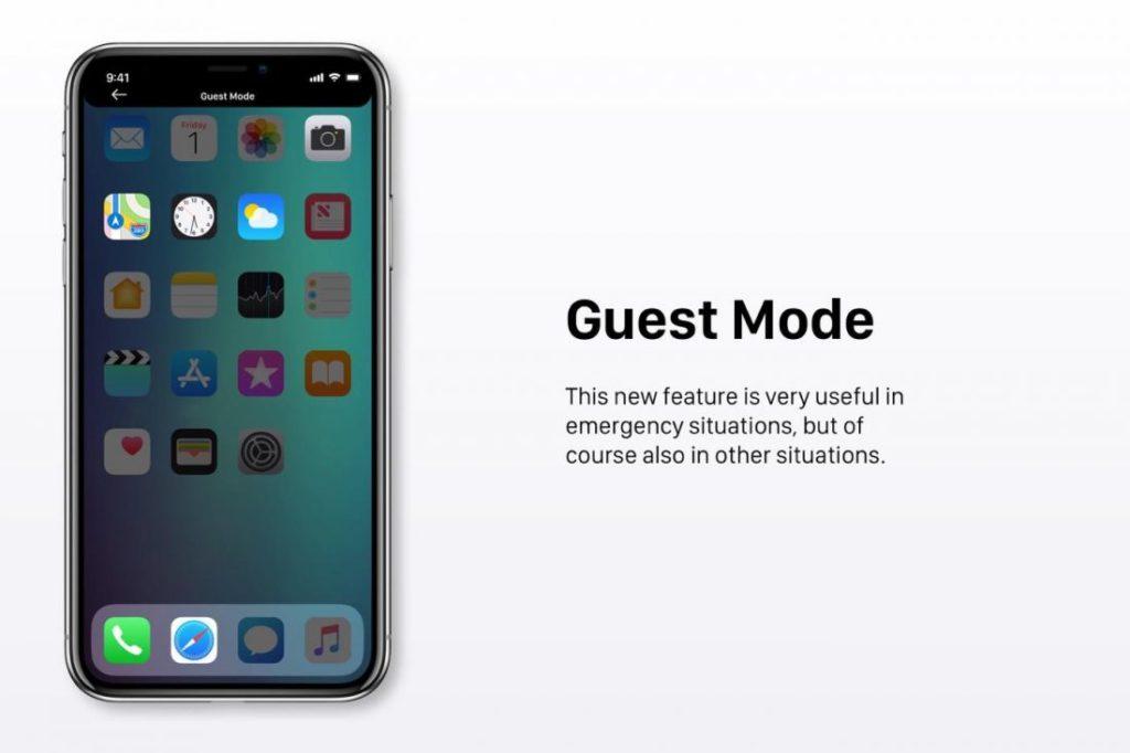 """Concept iOS 12 Mode Invite 1100x733 1024x682 - iOS 12 : un concept avec des modes """"Sombre"""" & """"Invité"""""""