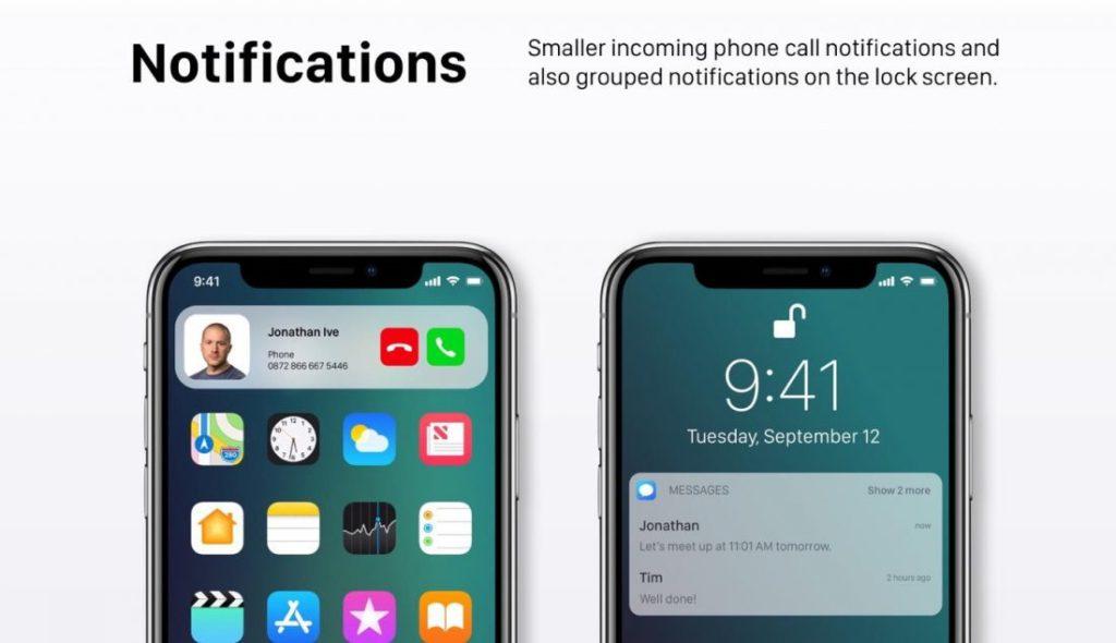 "Concept iOS 12 Notifications 1100x634 1024x590 - iOS 12 : un concept avec des modes ""Sombre"" & ""Invité"""