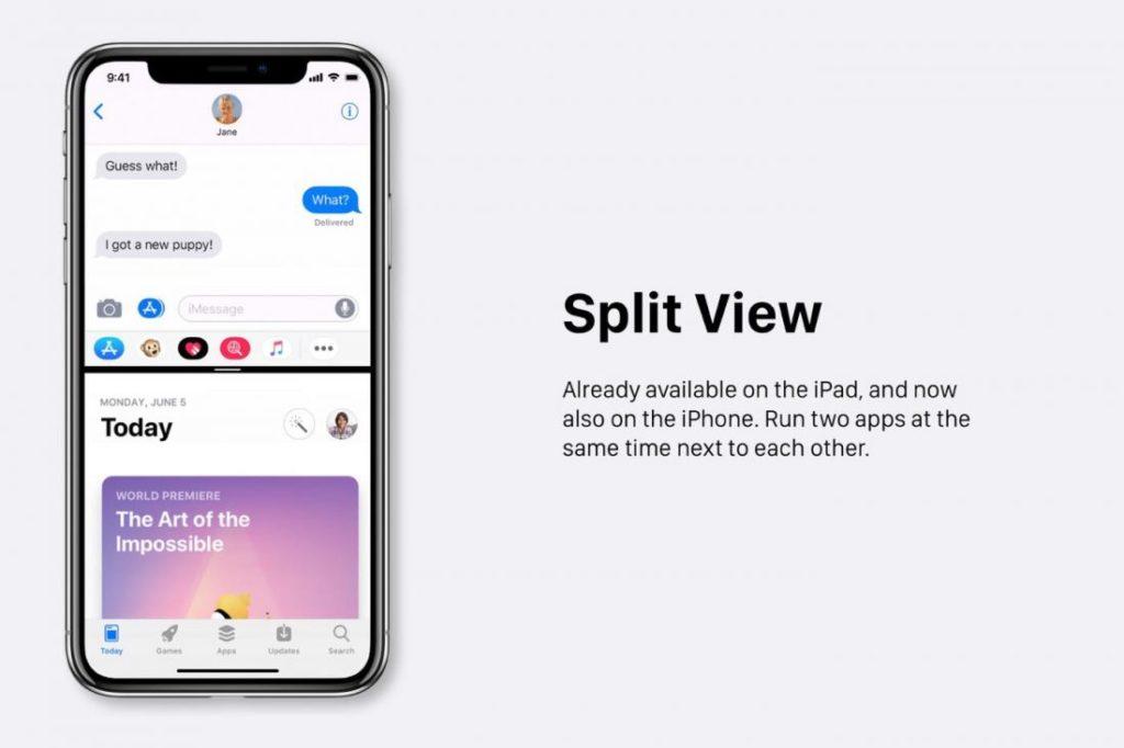 """Concept iOS 12 Split View 1100x733 1024x682 - iOS 12 : un concept avec des modes """"Sombre"""" & """"Invité"""""""