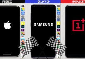 Galaxy S9+ vs iPhone X vs OnePlus 5T : test de rapidité