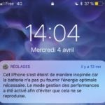 notification bridage performances 150x150 - iOS 11.3 : Apple ajoute l'état de la batterie dans les réglages iPhone