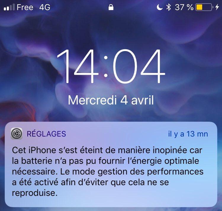 iPhone : enfin une notification de bridage des performances