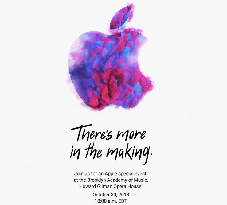 Invitation Keynote Apple 30 Octobre 2018 739x668 - iPad Pro 2018 & nouveaux Mac : la Keynote Apple fixée au 30 octobre