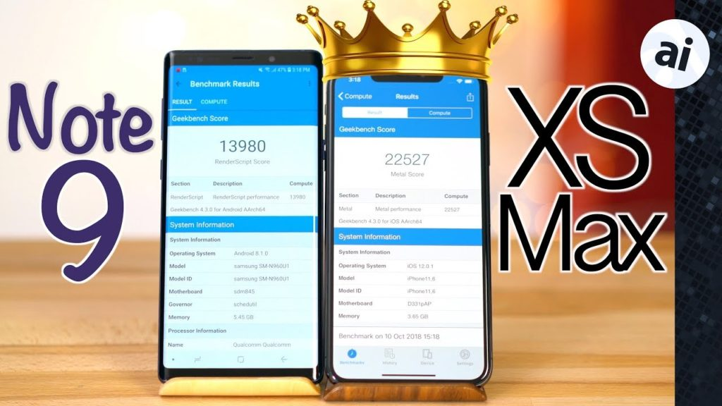 benchmark iphone xs max vs galaxy note 9 1024x576 - Benchmark : iPhone XS Max vs Galaxy Note 9, que vaut l'A12 Bionic ?