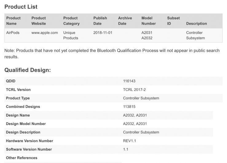 Nouveaux AirPods References Bluetooth 739x530 - Les AirPods 2 repérés dans la base de données du Bluetooth