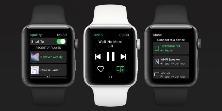 Spotify Apple Watch Officiel 739x370 - Spotify Music : la version finale enfin disponible sur l'Apple Watch