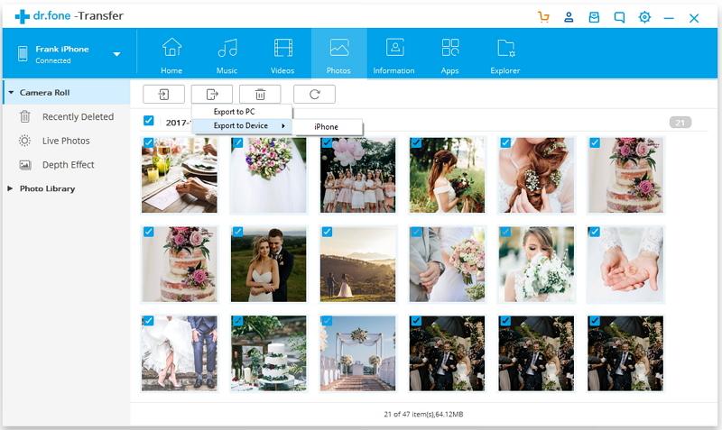 drfone exporter photos - Nouvel iPhone XS : comment transférer ses photos d'Android à iOS ?