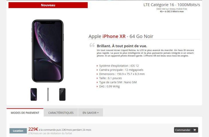 L'iPhone XR est disponible à la location chez Free Mobile