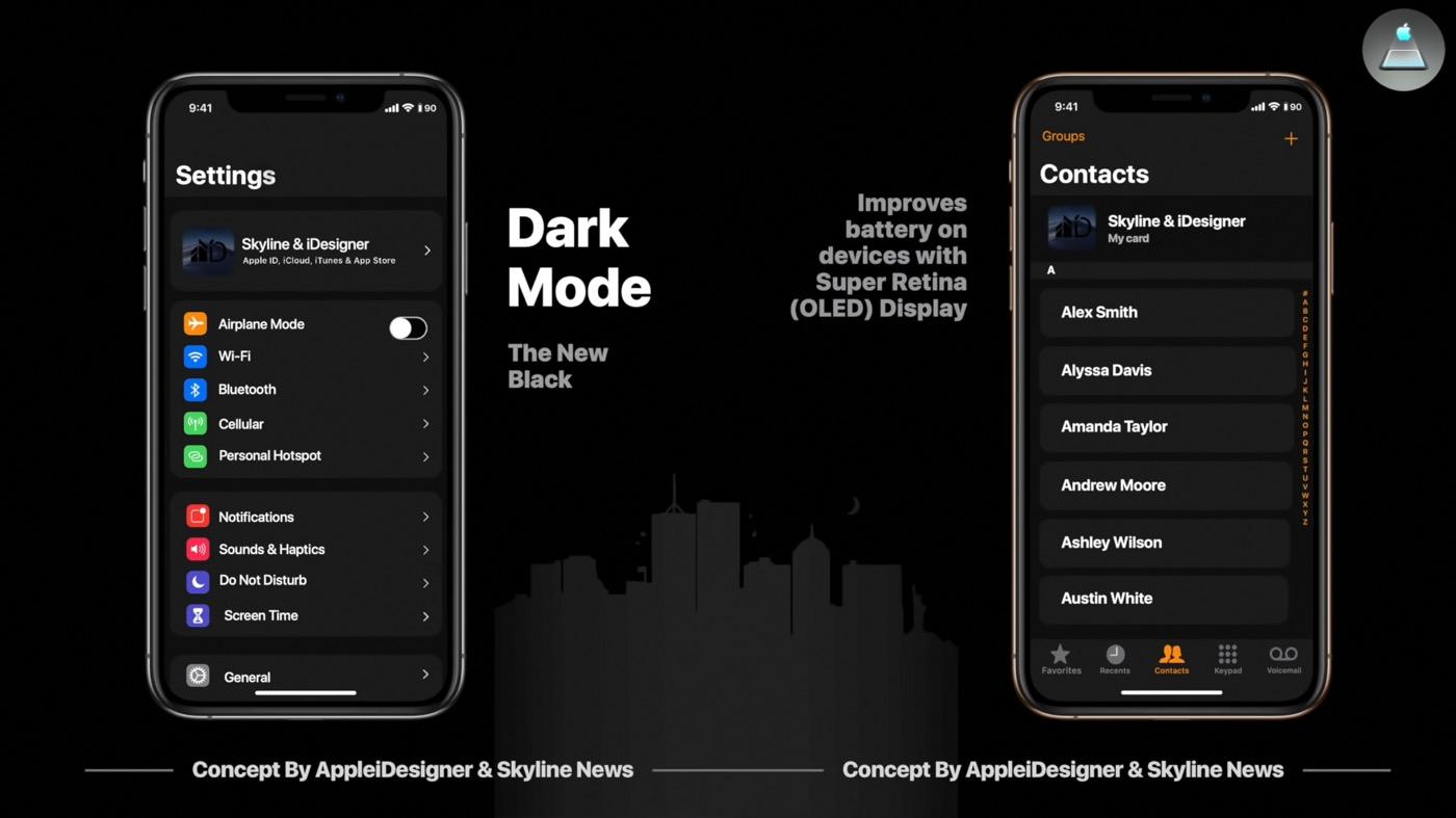Concept iOS 13 Mode Sombre - Le mode sombre avec iOS 13.1, et AirPods 2 avec charge rapide sans fil ?