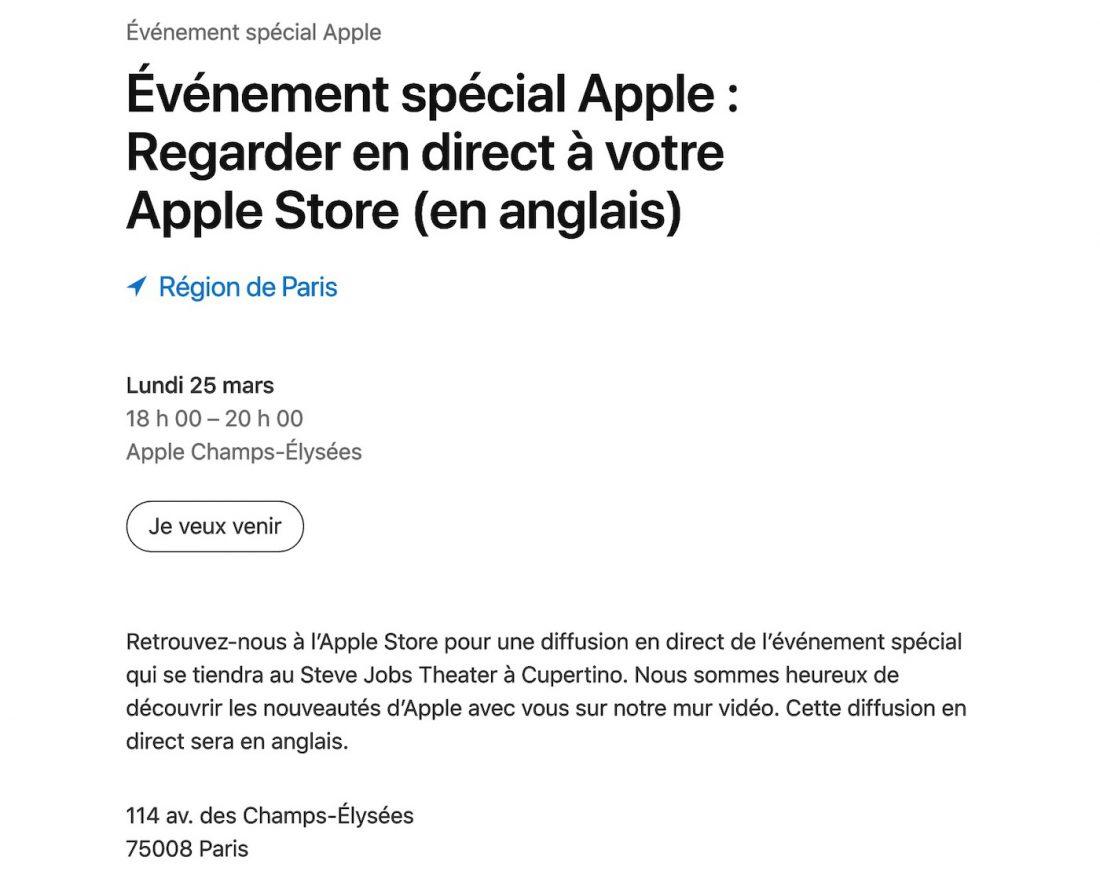 Keynote 25 Mars Champs Elysees - La keynote du 25 mars sera diffusée en direct dans des Apple Store en France