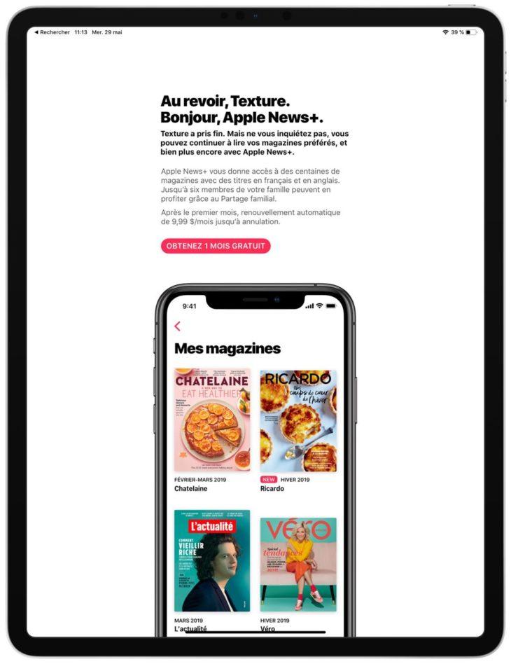 Apple : «Au revoir Texture. Bonjour Apple News+»