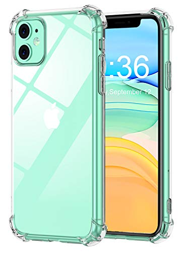 Babacom Coque p - Babacom Coque pour iPhone 11, Etui de Protection Transparent Antichoc avec Quatre Coins Renforcés, Bumper Extrêmement Fin en TPU Souple Renforcé pour iPhone 11 (2019) 6,1 Pouces