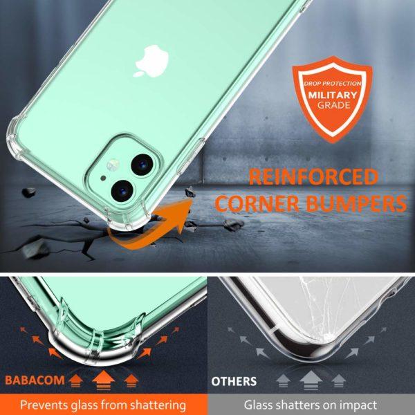 Babacom Coque p 1 - Babacom Coque pour iPhone 11, Etui de Protection Transparent Antichoc avec Quatre Coins Renforcés, Bumper Extrêmement Fin en TPU Souple Renforcé pour iPhone 11 (2019) 6,1 Pouces
