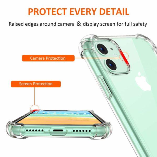 Babacom Coque p 2 - Babacom Coque pour iPhone 11, Etui de Protection Transparent Antichoc avec Quatre Coins Renforcés, Bumper Extrêmement Fin en TPU Souple Renforcé pour iPhone 11 (2019) 6,1 Pouces