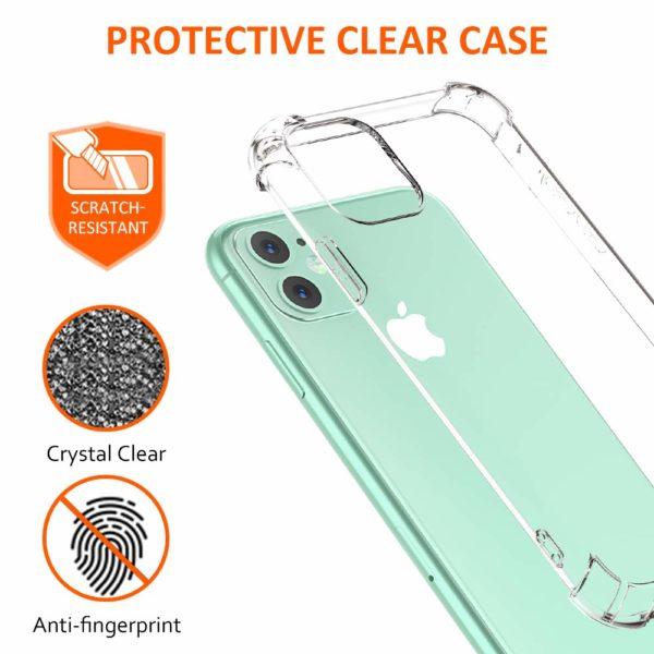 Babacom Coque p 3 - Babacom Coque pour iPhone 11, Etui de Protection Transparent Antichoc avec Quatre Coins Renforcés, Bumper Extrêmement Fin en TPU Souple Renforcé pour iPhone 11 (2019) 6,1 Pouces