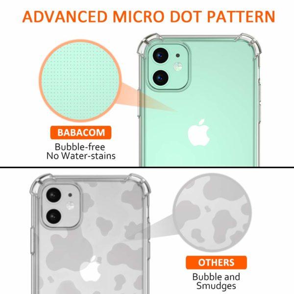 Babacom Coque p 4 - Babacom Coque pour iPhone 11, Etui de Protection Transparent Antichoc avec Quatre Coins Renforcés, Bumper Extrêmement Fin en TPU Souple Renforcé pour iPhone 11 (2019) 6,1 Pouces