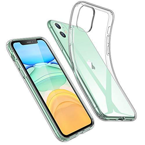 ESR Coque pour  - ESR Coque pour iPhone 11, Bumper Housse Etui de Protection Transparent en Silicone TPU Souple [Ultra Fin] [Ultra Léger] pour iPhone 11 (2019) 6,1 Pouces (Série Jelly, Transparent)