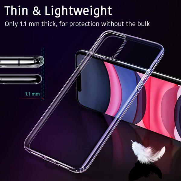 ESR Coque pour  0 - ESR Coque pour iPhone 11, Bumper Housse Etui de Protection Transparent en Silicone TPU Souple [Ultra Fin] [Ultra Léger] pour iPhone 11 (2019) 6,1 Pouces (Série Jelly, Transparent)