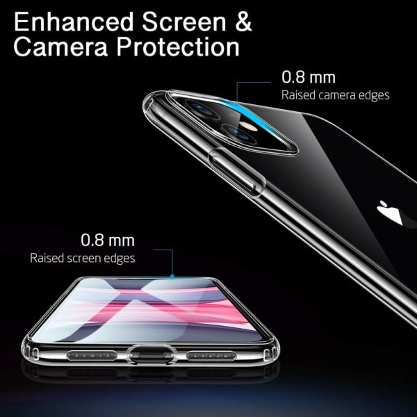 ESR Coque pour  5 - ESR Coque pour iPhone 11, Bumper Housse Etui de Protection Transparent en Silicone TPU Souple [Ultra Fin] [Ultra Léger] pour iPhone 11 (2019) 6,1 Pouces (Série Jelly, Transparent)