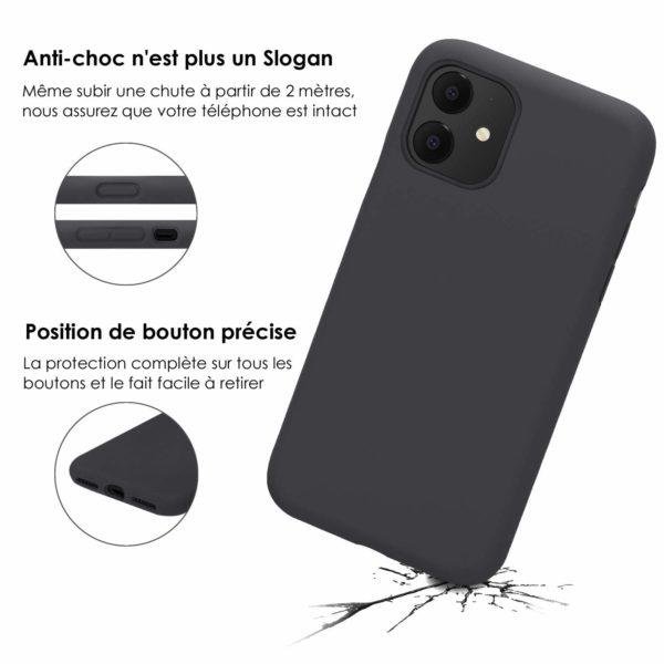 JASBON Coque po 2 - JASBON Coque pour iPhone 11, Coque Silicone Liquide avec Protecteur d'écran Gratuit Housse Protective Etui Anti-Choc Anti-Rayure Gel Case pour iPhone XI - Noir