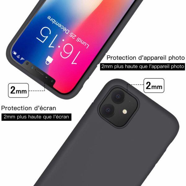 JASBON Coque po 5 - JASBON Coque pour iPhone 11, Coque Silicone Liquide avec Protecteur d'écran Gratuit Housse Protective Etui Anti-Choc Anti-Rayure Gel Case pour iPhone XI - Noir