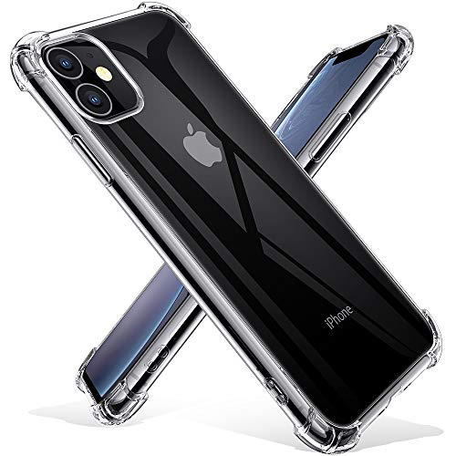Joyguard Coque  - Joyguard Coque iPhone 11 2019 [2 × Verre trempé Protection écran], iPhone 11 Coque Souple TPU Silicone [Shock-Absorption] AIR Cushion Protection Coin Housse iPhone 11-6.1pouces - Transparent