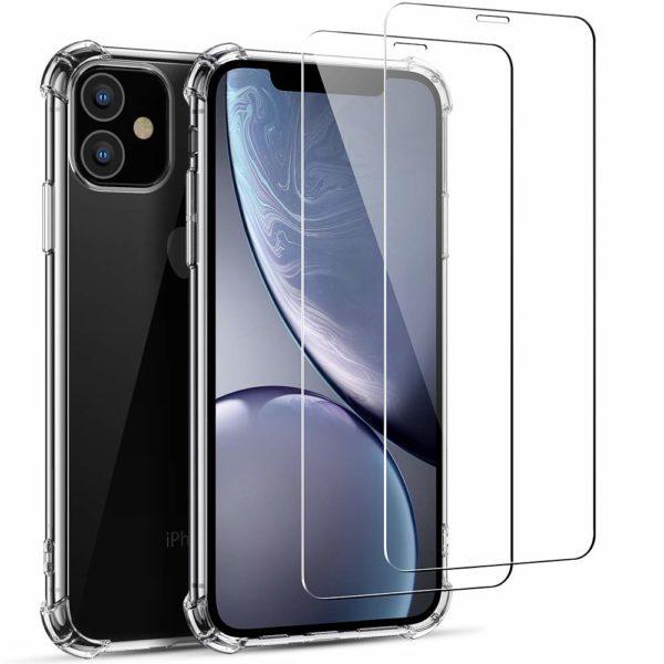 Joyguard Coque  0 - Joyguard Coque iPhone 11 2019 [2 × Verre trempé Protection écran], iPhone 11 Coque Souple TPU Silicone [Shock-Absorption] AIR Cushion Protection Coin Housse iPhone 11-6.1pouces - Transparent