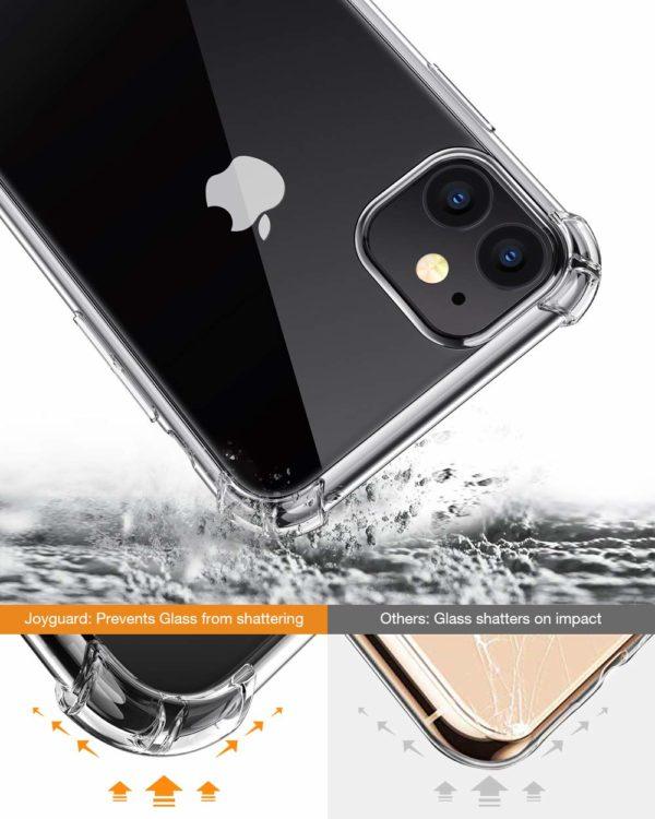 Joyguard Coque  1 - Joyguard Coque iPhone 11 2019 [2 × Verre trempé Protection écran], iPhone 11 Coque Souple TPU Silicone [Shock-Absorption] AIR Cushion Protection Coin Housse iPhone 11-6.1pouces - Transparent