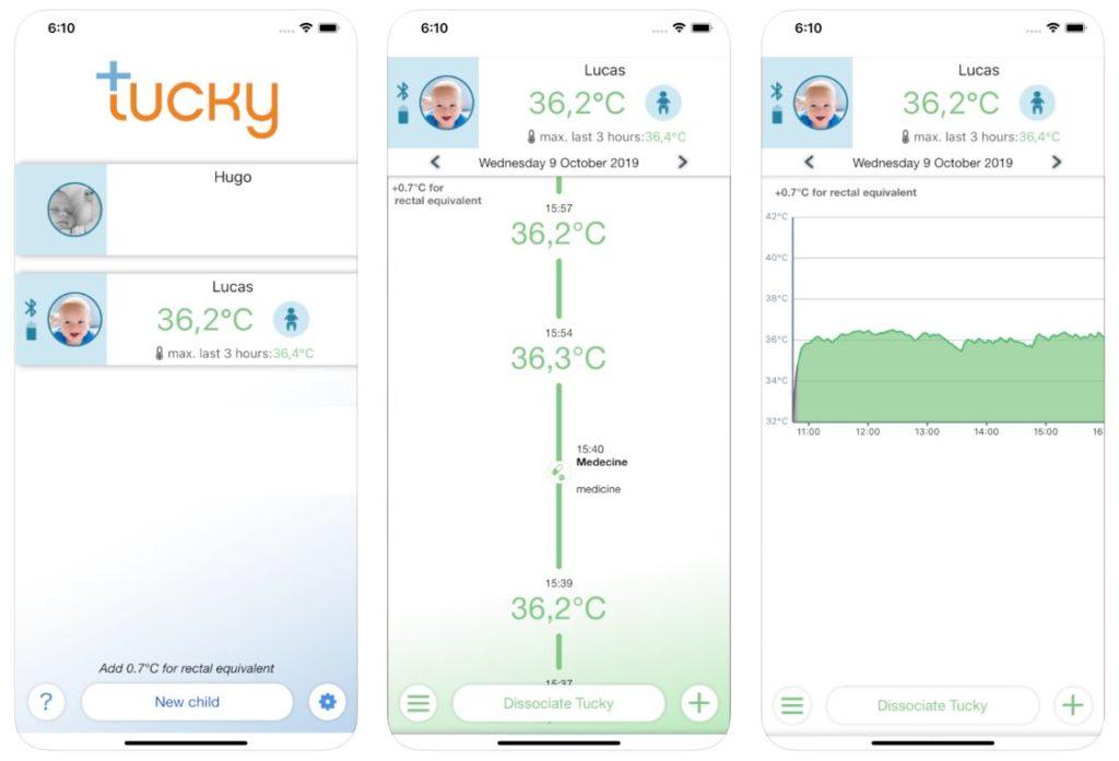 tucky application 1024x697 - Tucky : le 1er thermomètre connecté pour bébé (iOS & Android)