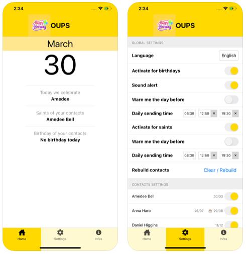 Oups : l'app iOS & Android pour ne plus oublier les anniversaires !