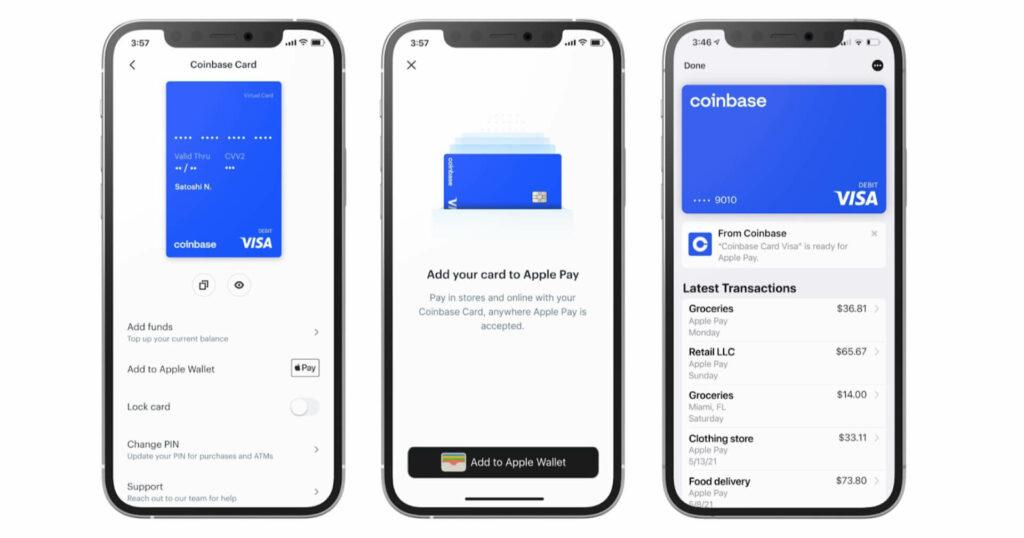 Cryptomonnaies : la carte bancaire Coinbase supporte Apple Pay & Google Pay