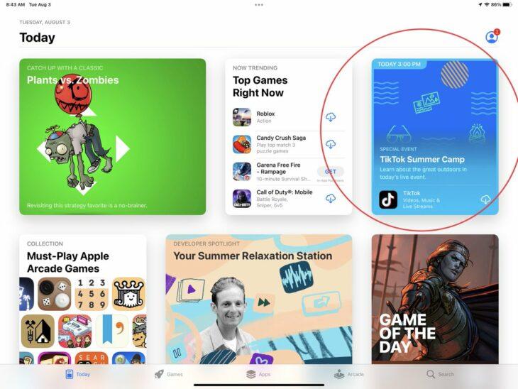 Les événements arrivent sur l'App Store avec TikTok